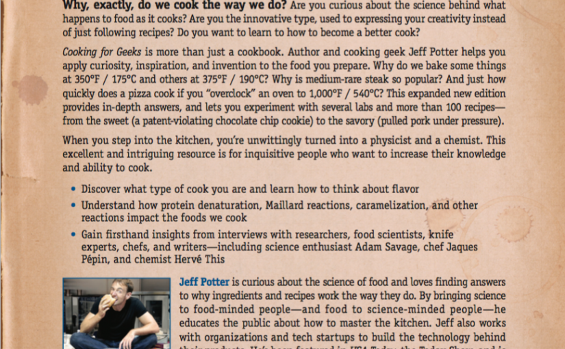 back cover of second edition of cooking for geeks