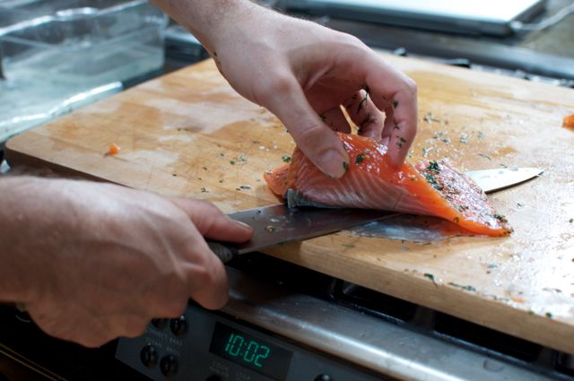 Remove the skin from your salmon fillet.